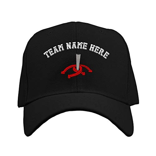Custom Baseball Hat Horseshoes and Stake Embroidery Team Name Acrylic Structured Cap Hook & Loop - Black, Personalized Text Here