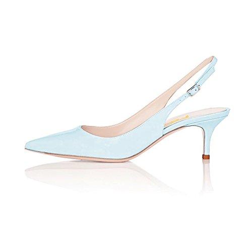 FSJ Size Shoes Heels Dressy Jeans 4 Pointed Pumps US Slingback with Women Toe Blue 15 Buckle Kitten r4Bwqr7