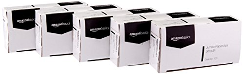 AmazonBasics Jumbo Paper Clips, Smooth, 100 per Box, 10-Pack