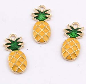 P1173 20pc Charms Pineapple Pendant Beads Necklace Jewellery Making Enamel