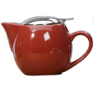 Brick Red Glazed Ceramic Teapot I-pot Tea Pot