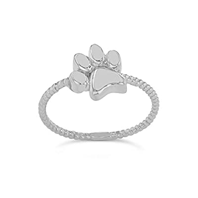 Elegant Sterling Silver Dog Paw Print Statement Rope Ring from Claddagh Gold