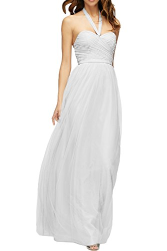 DressyMe Women's Halter A-Line Tulle Bridesmaid Dress Holiday Gown Floor-Length-6-White ()