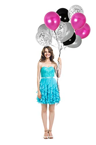 (Pink Black and Silver Confetti Balloons Kit for Sweet 16 Birthday Valentines Wedding Anniversary Graduation Party Decorations)