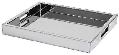 Modern Mirrored Glass Serving Tray   Decorative Bar Handles