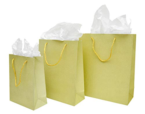 Joyful Shimmer Glitter Gift Bags with Tissue Paper, 3 Sizes - Small, Medium, Large, for Holidays, Birthdays, Weddings, Showers (Gold Glitter Shimmer) -