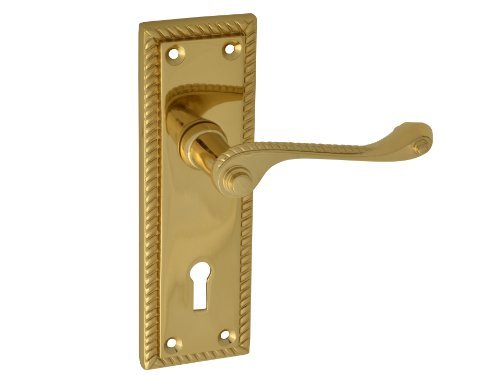 Forge 152mm Backplate Handle Lock with Georgian Brass Finish by Forge