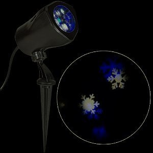 Light Show LED Blue & White Snowflake Projector Outdoor Christmas Spotlight Stake Synchronized Show