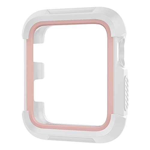 UMTELE Rugged Apple Watch Case 38mm, Shock Proof Bumper Cover Scratch Resistant Protective Case for Apple Series 3, Series 2, Series 1, White/Pink