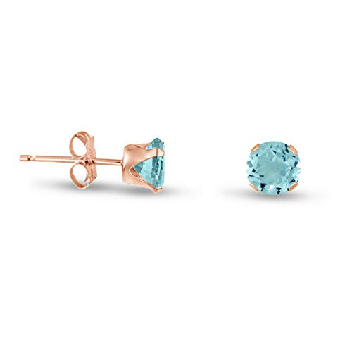 Campton Rose Gold Plated Silver Stud Earrings- Round Blue Aquamarine CZ ~ March | Model ERRNGS - 13918 | 2mm