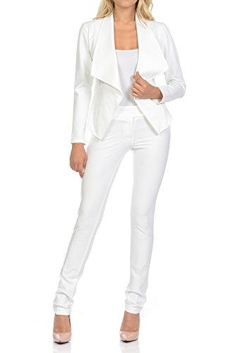 Womens White Pants Suit (Sweethabit Womens Classic Wear to Work Solid Pants Suit Set(3020set) (XLarge, 3068-3030_White))