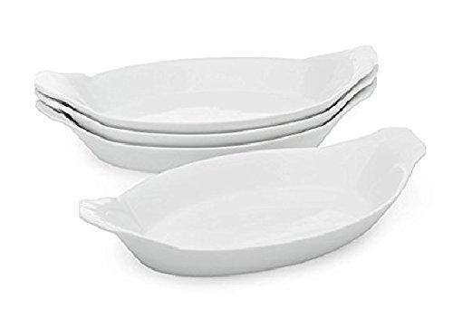 Oval Au Gratin Baking Dishes, Rarebit, Fine White Porcelain EXTRA LARGE (12'' 4 PACK)