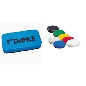 Dahle - Pack borrador magnético para pizarras blancas + 10 imanes, colores variados