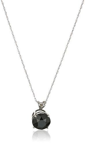 """14k White Gold Black Diamond Solitaire Pendant Necklace (2 cttw), 18"""""""