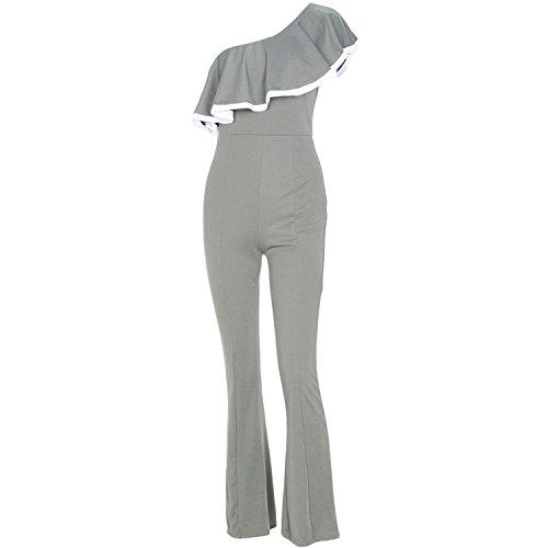 (Puissant Unique Women One Shoulder Ruffles Jumpsuit Wide Leg Long Pants Slims Lady Solid Playsuit,Large,Green)