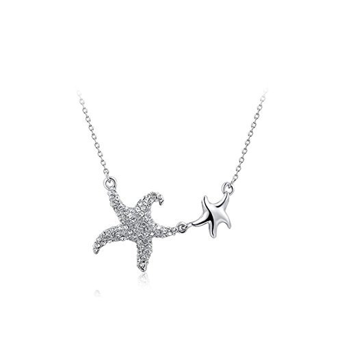 Pewter Earings (AROUND 101 Women Ocean Double Starfish CZ Simulated Diamond Cubic Zirconia Pendant Necklace Gift For Lover Party Wedding Anniversary Engagement Valentine's Day Christmas (Silver))