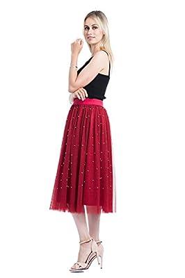 Minyue Women's Elastic Waist Tulle Skirt Princess Dress 3-Layer Mesh Tulle Skirt with Pom Pom Puff Ball