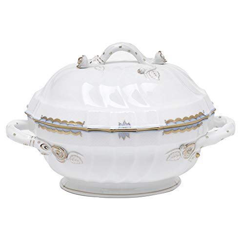Herend Princess Victoria Light Blue Porcelain Tureen with Branch Handles