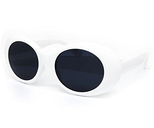 O2 Eyewear SA122 Original Classic Dark Mod Round Pop Oval Lens Kurt Cobain Nirvana Bold Retro Vintage Sunglasses (Kurt Cobain, - Round Classic Sunglasses