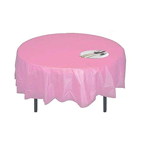 (Disposable Plastic Tablecloth,Pink Round Table Covers for Parties 84''-5 Pack)