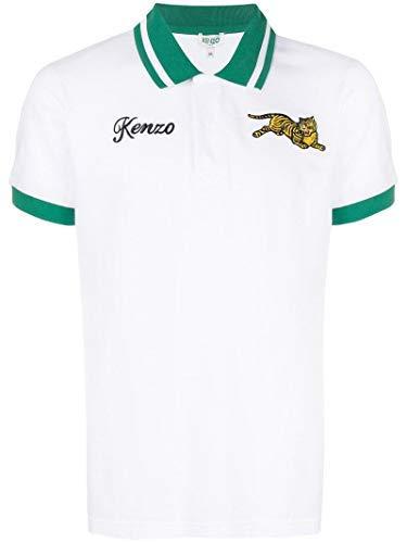 Kenzo Mens Jumping Tiger Motif Polo T-Shirt, White Polo (L)