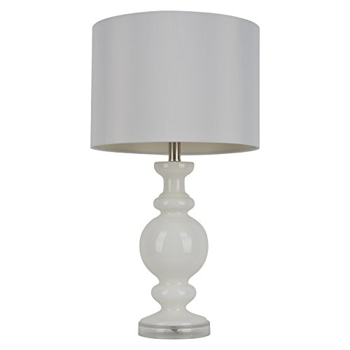 27'' H Contemporary White Ceramic Glass Table Lamp with Drum Fabric Shade by Alcott Hill