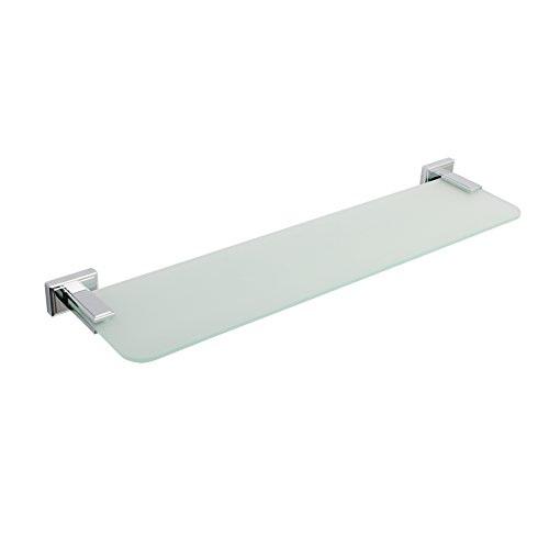 "MAYKKE Carraway 22"" Frosted Glass Shelf Tempered 1920s Art Deco & Geometric Inspired Design for Bathroom, Kitchen Decorative Storage and Organization Polished Chrome OYA1051601"
