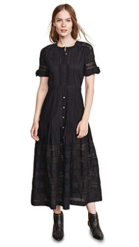 LOVESHACKFANCY Women's Edie Dress, Black, X-Small
