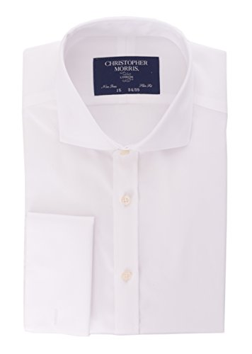 French Cuff Non Iron Dress Shirt (Christopher Morris Slim Fit Solid White French Cuff Non Iron Cotton Dress Shirt)