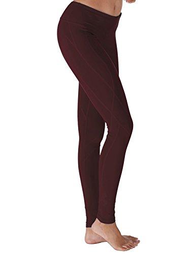 Yoga Reflex Women's Yoga Pants - Stitched Bottom - Hidden Pocket, MAROON, 2XL