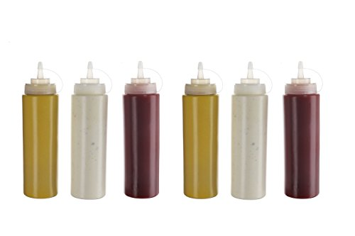 ((6pk) Plastic Squeeze Squirt Condiment Bottles with Twist on Cap Lids - Top Dispensers for Ketchup Mustard Mayo Hot Sauces Olive Oil - Bulk Clear Bpa Free Bbq Set, 32)