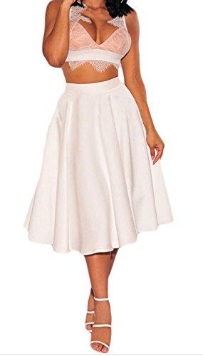 TomYork Flared A-Line Midi Skirt(White,S) (Brazil Fancy Dress Ideas)