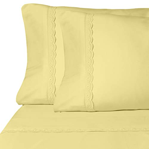 Eyelet Premium Yellow Sheets | Queen Size Brushed Microfiber 4-Piece Sheet Set | Lightweight, Soft, Deep Pocket, Lace Embellishments, Wrinkle Resistant & Fade Resistant with 30 Day - Flat Queen Yellow Sheet