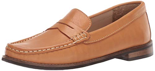 Driver Club USA Unisex Genuine Leather Boys/Girls Casual Comfort Slip On Moccasin Penny Loafer Driving Style, tan nappa 4.5 M US Little Kid