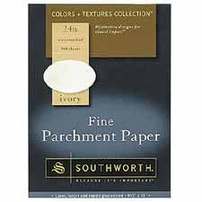 Southworth Color + Textures Collection™ Fine Parchment Paper, 8 1/2in. x 11in., 24 Lb., Ivory, Pack Of 80 Southworth Certificate Parchment Paper