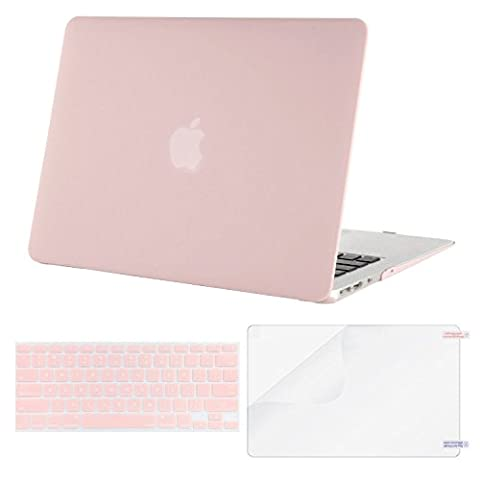 Mosiso Plastic Hard Case with Keyboard Cover with Screen Protector for MacBook Air 13 Inch (Models: A1369 and A1466), Rose (Macbook Pro Rubber Cover 13 Inch)