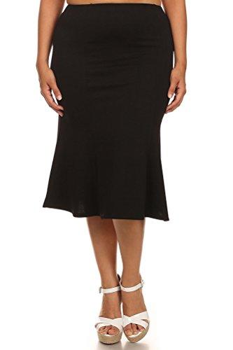 Pastel by Vivienne Women's Midi Mermaid Plus Skirt XX-Large Black