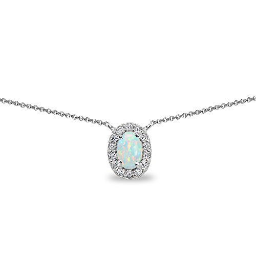 - Sterling Silver Simulated White Opal Oval Halo Choker Necklace with CZ Accents