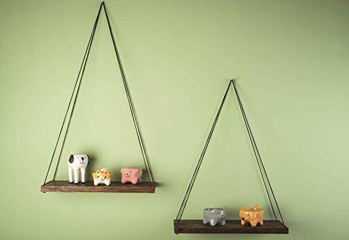 (Set of 2 Wood Wall Hanging Shelf Wooden Plant Display Stand 14 x 6 Inch Decorative Modern Swing Vase Shelves Minimalistic Flower Holder for Test Tubes Bud for Living Room Housewarming Gift)