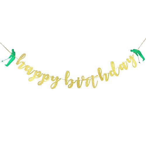 Happy Birthday Golf - Gold Glitter Happy Birthday Banner Golf Banner Birthday Celebration Party Decoration Supplies