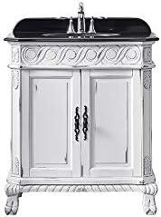 Ove Decors Antique White Trent 30 Gold Brush Freestanding Vanity