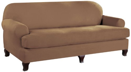 (Tailor Fit Stretch Fit Micro Suede 2-Piece Slipcover Furniture Protector, T Cushion Sofa, Camel)