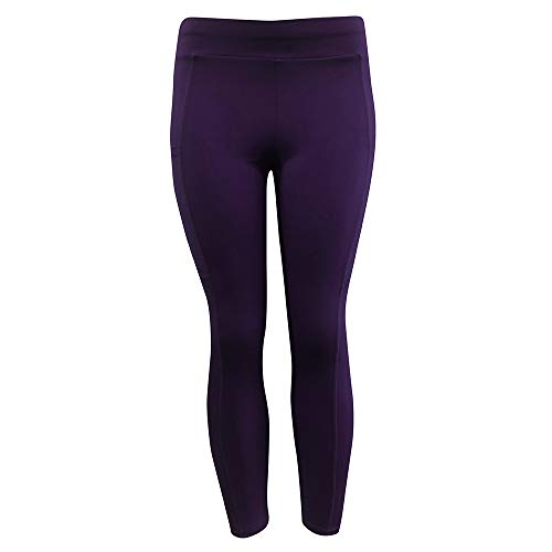 iLUGU Womens Solid Workout Leggings Fitness Sports Gym Yoga Pants Running Thermal Yoga Athletic Work Out Purple