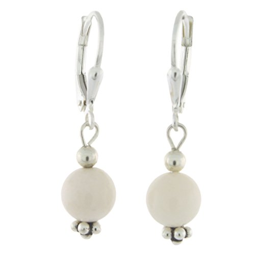 Sterling Silver 8mm Gemstone Bead Lever Back Bottom Dot Flower Earrings, White Coral