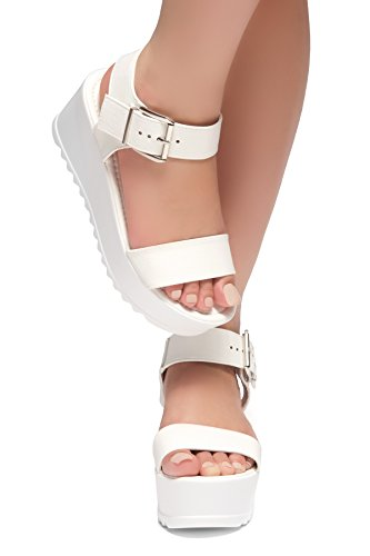 Carita Platform Buckle Wedges Strap Ankle Sandal Chunky White Herstyle Women's Fashion Shoe 5xTz1qUz0w