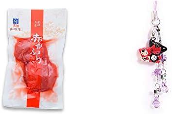 [2点セット] 飛騨山味屋 赤かぶら【小】(140g)・さるぼぼペアビーズストラップ 【紫】/縁結び・魔除け//