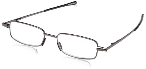 FGX International Unisex-Adult Gavin Fold Flat 1017258-300.COM Rectangular Reading Glasses, Gunmetal, 3
