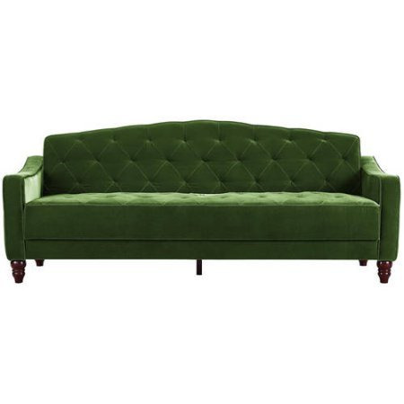 9 by Novogratz Vintage Tufted Sofa Sleeper II (Green Velour)