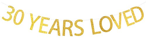 INNORU® 30 Years Loved Banner Gold Glitter Sign - 30th Birthday Party Decorations