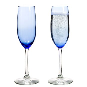 Cobalt/Royal Blue, Clear Stem, Two-Tone Champagne Glasses...
